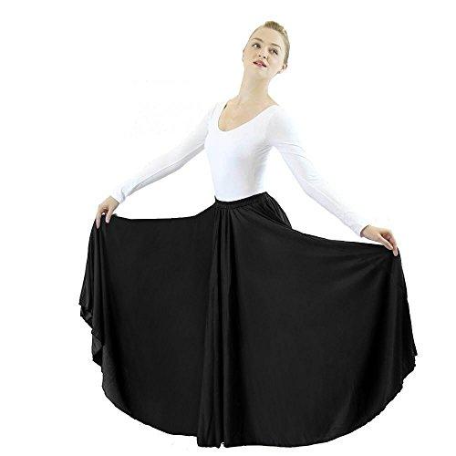 Danzcue Womens Long Full Circle Dance Skirt, Black, 2XL-3XL
