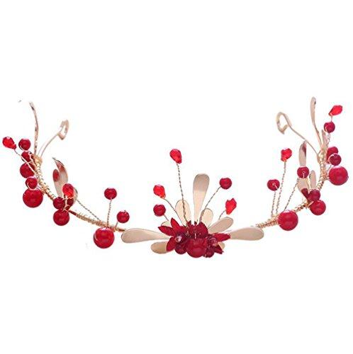 TINGTING Braut Crown Rote Haare Ornamente Braut Toast Kleidung Kopfschmuck Hochzeit Chinesisches Kleid Kopfschmuck Krone Minimalist Perlen Frauen Schmuck Haarbänder