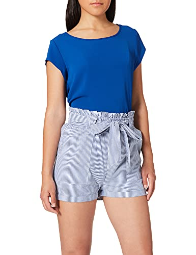 Only Onlsmilla Stripe Belt DNM Shorts Noos Pantaloncini, Multicolore (Medium Blue Denim Stripes: W/Stripes), 46 (Taglia Produttore: Large) Donna