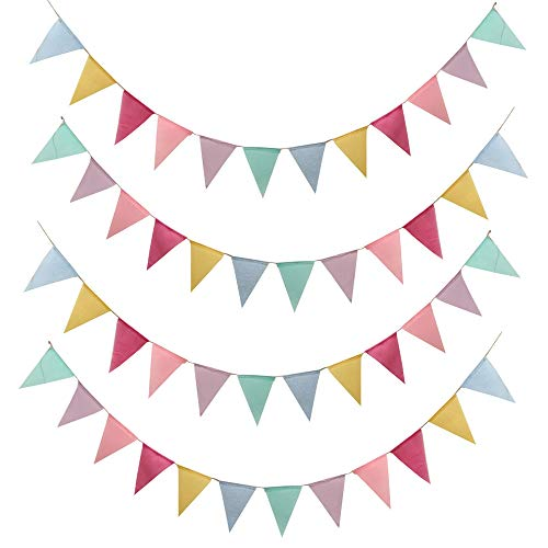 SERWOO 48pcs Guirnalda Banderas Banderines Arpillera de Imitación Pancarta Triángulo Decoración Colgante de Boda Bautizo Fiesta Cumpleaños Navidad (4 Cadenas * 12 Banderas)