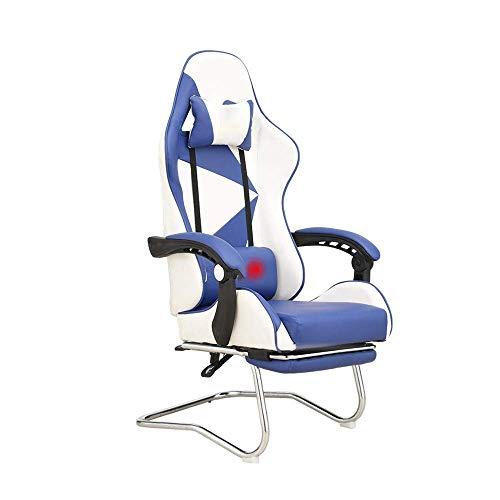 Daily Equipment Silla Silla de oficina reclinable con reposapiés Silla ergonómica para computadora Silla estilo carrera para juegos con patas en forma de arco con reposacabezas y almohada lumbar de