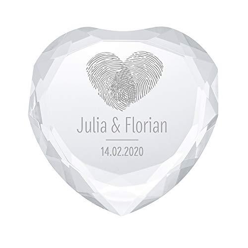 Casa Vivente Kristall in Herzform mit Gravur, Motiv Fingerabdruck, Personalisiert mit Namen und Datum, Deko aus Glas, Liebesgeschenk für Paare