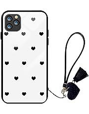 Suhctup Compatible con iPhone 12 Funda Vidrio Templado con Cordón Cuerda y Dibujos Diseño Carcasa TPU Cuadro Suave Bumper Anti-Choques Anti-Arañazos Cover,Amor 7