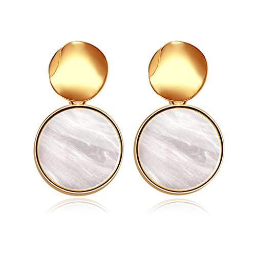 CXWK Pendientes Redondos de declaración Coreana para Mujer, Pendientes geométricos de Concha de Oro, Pendientes Colgantes, joyería de Moda Brincos