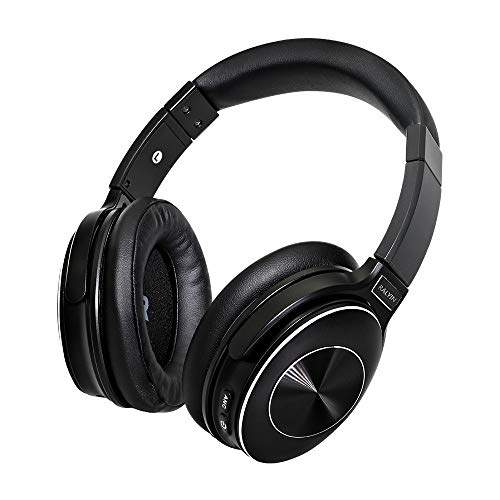 Ralyin M6 Active Noise Cancelling Headphones Bluetooth Headphones with Microphone Deep Bass Wireless Headphones Over Ear, Comfortable Protein Earpads, 50 Hours Playtime for Travel/Work, Black