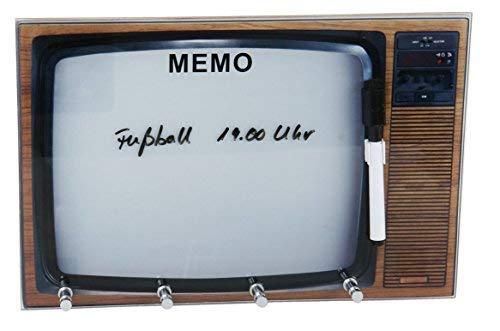 Spetebo Tableau à clés rétro aspect TV - Tableau mémo en verre - Porte-clés avec 3 crochets - Tableau mural