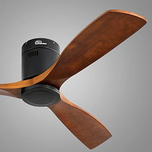 Sofucor Low Profile Ceiling Fan DC 3 Carved Wood Fan Blade Noiseless Reversible Motor Remote Control Without Light (52'Ceiling Fan Without Lights)