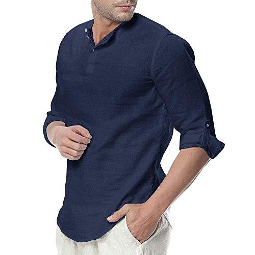 Minetom Homme Casual Chemise à Manches Longues Été Mode Décontractée Slim Fit Solide Couleur Lin Shirts Respirant Loose Tops A Bleu Foncé X-Large