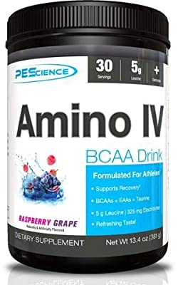 PEScience Amino IV, Raspberry Grape, 60 Scoop, BCAA and EAA Powder with Electrolytes