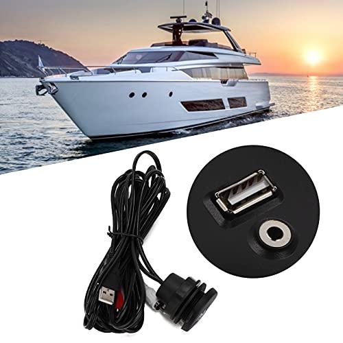 FOLOSAFENAR Cable de extensión USB, Conveniente para Instalar Cable de Montaje de Interfaz Auxiliar USB con Tapa de Sellado de Goma para configuración de timón con Espacio Limitado
