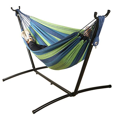 Mayhawk Hammock with Stand, 550lb Capacity Double Cotton Hammock and 9ft Steel Stand Including Portable Carrying Case Easy Set Up (Blue)