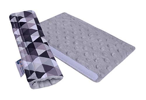 Minky Medi Partners - Almohadilla para el hombro para coche, 17 x 22 cm, 100% algodón, doble cara, protector de cinturón de seguridad para coche (triángulo gris con Minky)