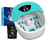 4 in 1 Foot Spa Massager Set For Home With 4 Massage Rollers - Temperature & Heat Control- Bubble Maker- Intense Vibration - Pedicure - Instant Foot Stress Relief Spa - Includes Tea Tree Oil Foot Soak