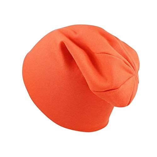 Nuevo bebé Street Dance Hip Hop Sombrero Primavera otoño bebé Sombrero Bufanda para niños niñas Gorro de Punto Invierno cálido Color sólido niños Sombrero-Orange hat-0-4 Years