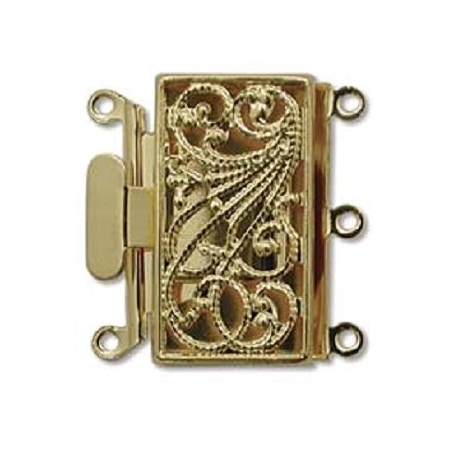 Three Strand Gold Tone Filigree Push Pull Box Clasp - Multi-Strand Clasp - 3 Clasps