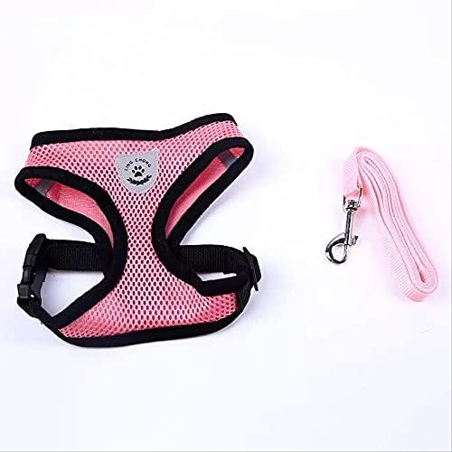 Arnés para mascotas con cuerda de tracción para gatos y perros, adecuado para perros pequeños y medianos, M rosa