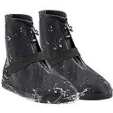 AMZQJD Waterproof Rain Shoes Boots Covers for Women Men (Black, M (Women 5-6,Men 3-4))