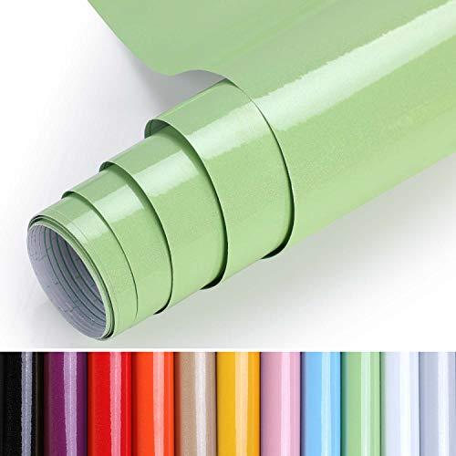 KINLO Pellicola da Cucina Verde 0.4 * 5m Fatta di Adesivi in PVC per Armadio Carta da Parati Cucina Pellicola Adesiva mobili Pellicola autoadesiva Impermeabile con Glitter