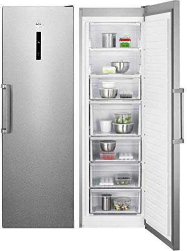 AEG AGB728E5NX Congelador Vertical de una puerta, Libre Instalación, 1.86 m, No-Frost, 5 cajones + 2 puertas abatibles, Display LCD, Luces LED, Puerta Antihuellas, Inox, Clase E