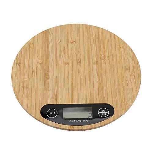 Elektrische weegschaal, 5 kg/1 g, ronde vorm, bamboe-keukenweegschaal met led-indicator voor de hoofdkeuken, die gerechten kookt
