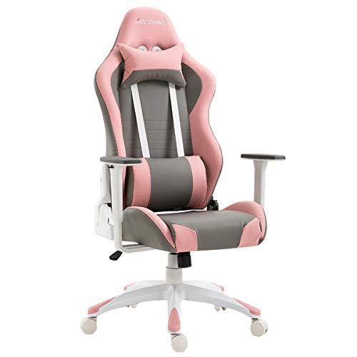ZRSZ - Silla para videojuegos (altura ajustable, 3D, ergonómica, giratoria, con soporte lumbar y gargantilla (cuero artificial), color rosa y gris