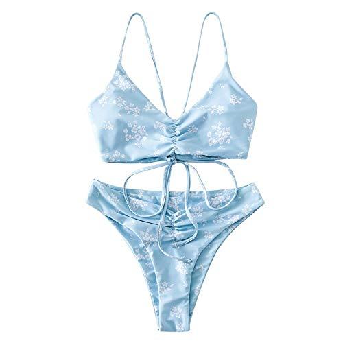 ZAFUL Damen Ditsy Print Rüschen Schnür Bikini Set Blumen Spaghetti-Träger Gepolstert Badeanzug(Blau,S)