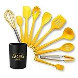 XWYWP Conjunto de Utensilios de Cocina, Accesorios de Silicona Herramientas de Utensilios de Utensilios de Cocina Set de Cocina Gadget Utensilio de espátula (Color : Yellow 11PCS)