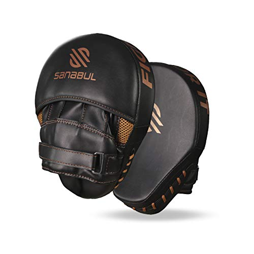 Sanabul Essential Curved Boxing MMA Punching Mitts for Sparring and Training (Metallic Copper)