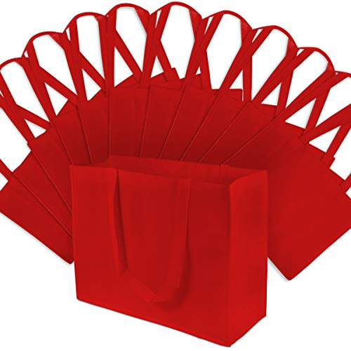 Large Red Reusable Grocery Bags, Shopping Bags With Handles, Gift Bags, Merchandise Bags, Fabric Tote Bags, Foldable, Strong And Eco Friendly 12 Pcs. 16x6x12'