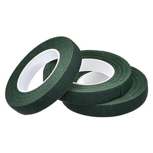 Pack de 3 Cinta Floral Verde Cinta de Tallo Stem Tape,1/2 Pulgadas x 90 Pies, Verde Oscuro