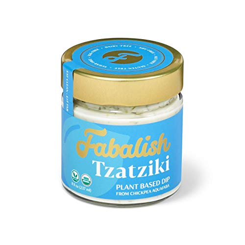 FABALISH Vegan Tzatziki Sauce | Aquafaba Plant-Based | No Yogurt, Dairy, Nuts, or Soy | Gluten-Free, Organic and Clean Ingredients | Creamy, Rich, Smooth Texture | With Cucumber, Dill, Mint | 8 Fl Oz