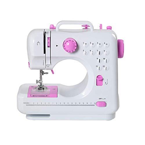 lxfy - Máquina de coser eléctrica, máquina de coser portátil, con overlock de pedal de pie de 12 puntos, aplicación al manual de viaje para hogares