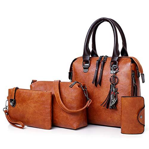 Segater Women Fashion Handbag+Shoulder Bag+Purse+Card Purse Faux Leather Tote 4 Pieces