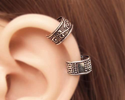 Set of 2 Small Wide Band Handmade Sterling Silver Ear Cuff, Ear Wrap, Cartilage Earrings for women, Non Pierced Ear Cuff