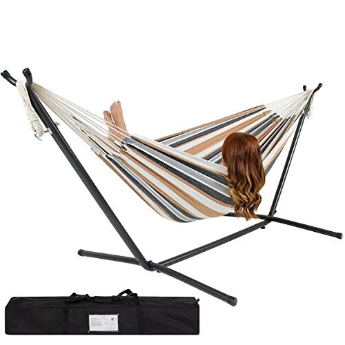 New Double Hammock with Space Saving Steel Stand Includes Carrying Case (White)