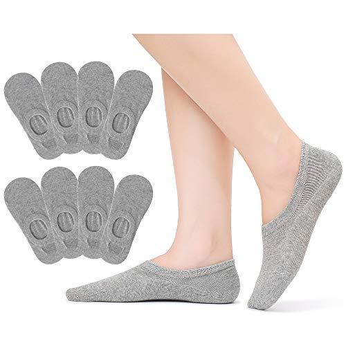 Falechay Sneaker Socken Damen 39-42 Füßlinge Unsichtbare Sneaker Socken Baumwolle Atmungsaktiv mit Silikon Grip rutschsicher 8 Paar Grau 39-42