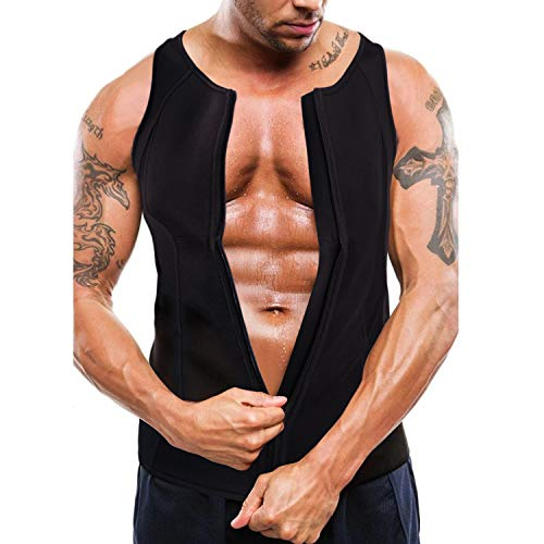 Bingrong Herren Neopren Weste Sauna-Anzüge Fitness Shape Shirt formend Training Thermo Tops Shapewear Trainingsweste mit Reißverschluss (Schwarz, XL)