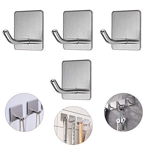 KINDPMA 4pcs Haken Selbstklebende Handtuchhaken Edelstahl Kleiderhaken Ohne Bohren Handtuchhalter Bad und Küche Wandhaken Klebehaken für Küche und Bad