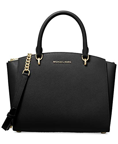 """Genuine saffiano leather Rolled double handles with 4"""" drop ; adjustable, removable strap with 21"""" drop Top zip closure; gold tone hardware; two exterior slip pockets Fabric lined interior features 1 zip pocket; 4 slip pockets Approximate dimensions:..."""