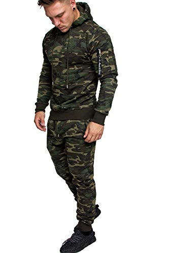 Amaci&Sons Herren Cargo Stil Sportanzug Jogginganzug Trainingsanzug Sporthose+Hoodie 1003 Camouflage Khaki L