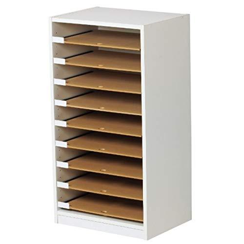 フロアケース A3 木製 9段 書類 ファイル 収納 レターケース オフィス 収納棚 ホワイト