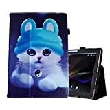 PHEVOS 10/10.1 inch Case for Dragon Touch K10 Tablet, Folio Stand Cover for Lectrus 10.1, Victbing 10, Hoozo 10 Winsing 10, ZONKO 10.1 Wecool 10.1 Yuntab 10 KUBI 10.1 Tablet (Blue cat)