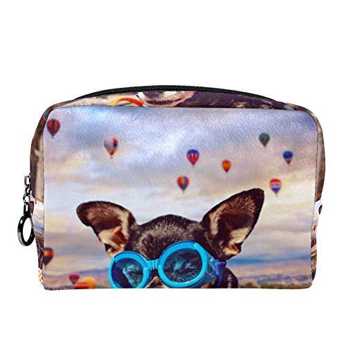 Cosmetic Bag for Women,Roomy Makeup Bags,Dog Bike Basket hot air Balloon,Travel Waterproof Toiletry Bag Accessories Organizer
