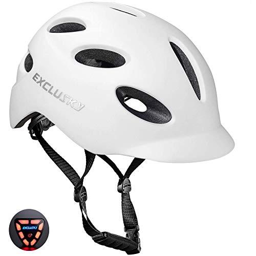 Exclusky - Casco de moto para adultos con luz de seguridad USB recargable para Urban Commuter certificado CE (blanco)