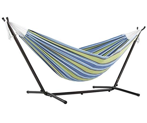 Vivere Double Cotton Hammock with Space-Saving Steel Stand, Oasis