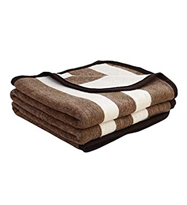 Alpaca Warehouse Alpaca Sheep Wool Blanket King/Full-Queen/Twin Size Thick Heavyweight Comfortably Warm - Great for Outdoor Use - Striped Design (Camel/Ivory, King)