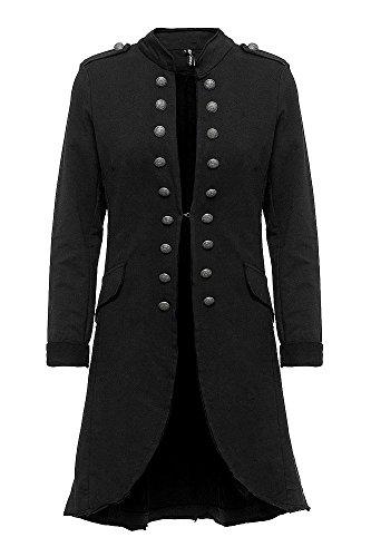 Madonna Damen Blazer Damenjacke Admiral Jacke Military Army Style Lang S -XXL XXXL (schwarz, XXL /44)