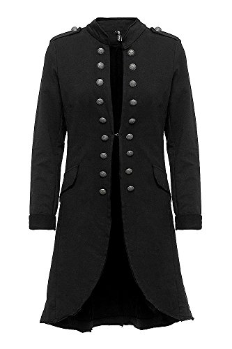 Madonna Damen Blazer Damenjacke Admiral Jacke Military Army Style Lang S -XXL XXXL (schwarz, L/40)