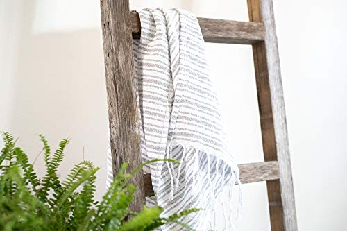 BarnwoodUSA Rustic Farmhouse Decorative Ladder - Our 6 ft Ladder can be Mounted Horizontally or Vertically and is Crafted from 100% Recycled and Reclaimed Wood | No Assembly Required | Weathered Gray
