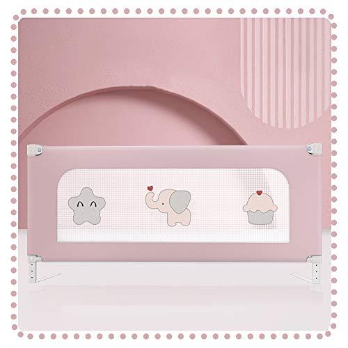 QIANDA Barrera Cama, Carril De Cuna Elevación Vertical Seguridad Dormir Proteccion por Bebés Y Niños, Fácil De Operar (Color : Pink, Size : 200cm)
